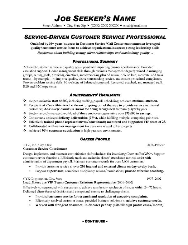 Sample Of Customer Service Resumes. Customer Service Resume ... In Good Customer Service Resume