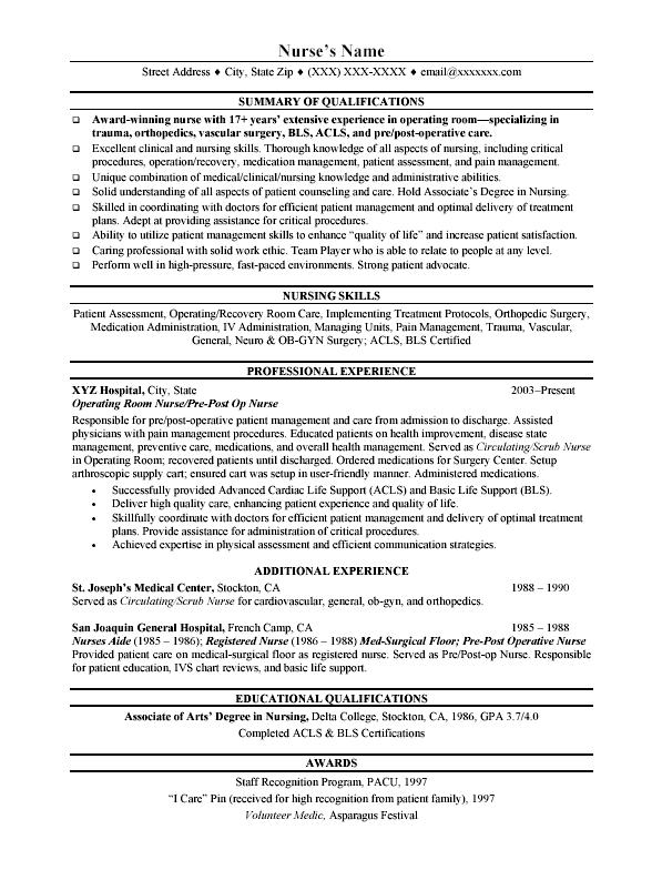 Med Surg Rn Resume Sample Resume For Post Op Nurse I M A Nurse Sample  Customer Service  Example Of Nursing Resume
