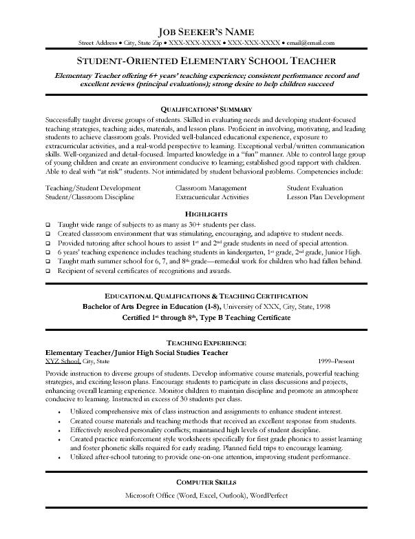 example of resumes for jobs. sample resumes for teachers